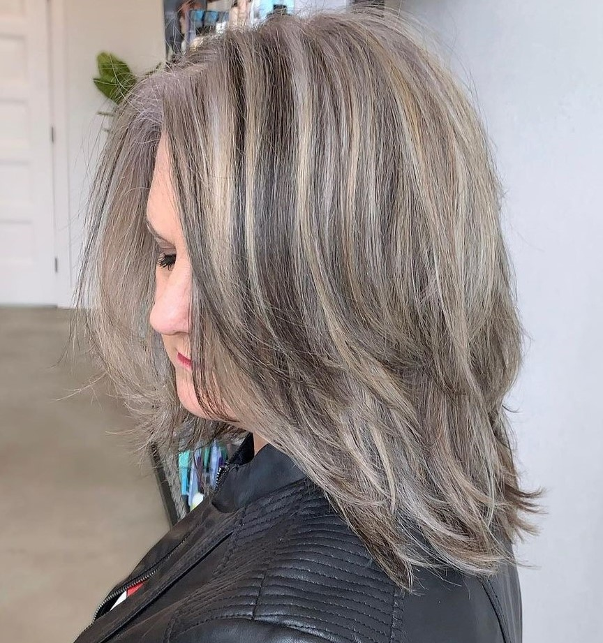 Ash Blonde Midi Hairstyle with Lowlights overweight women over 40