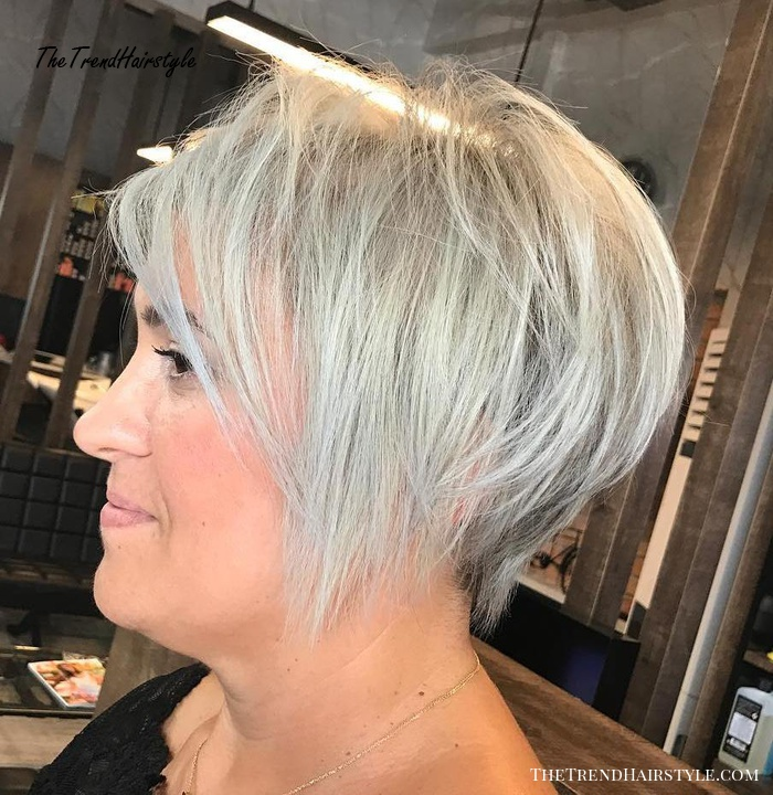 Long Angled Pixie Cut Women over 40