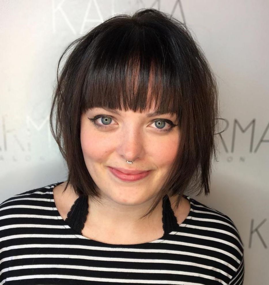 short bob with wispy bangs overweight women over 40