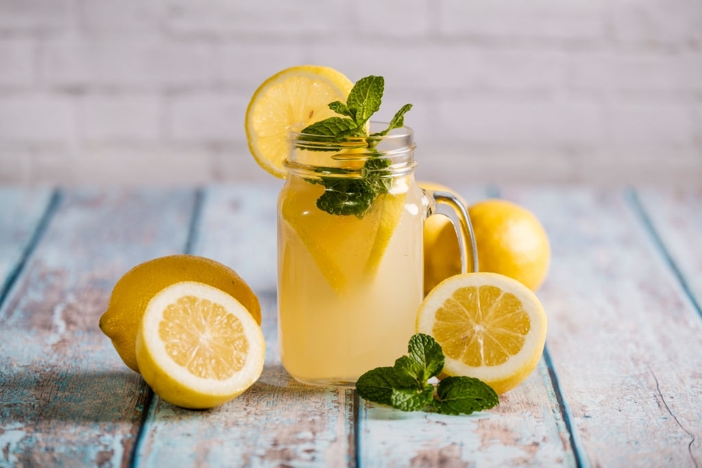 Glass with natural lemon juice